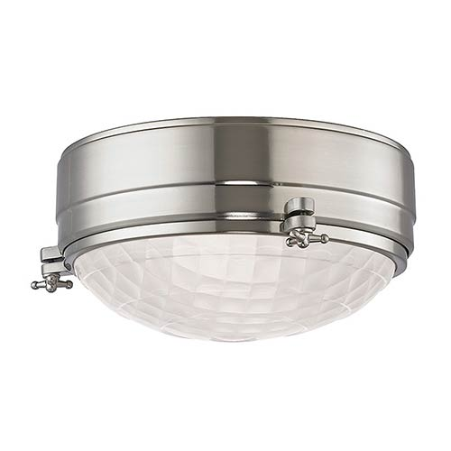 Hudson Valley Belmont Satin Nickel Two-Light 9-Inch Wide Flush Mount with Frosted Glass
