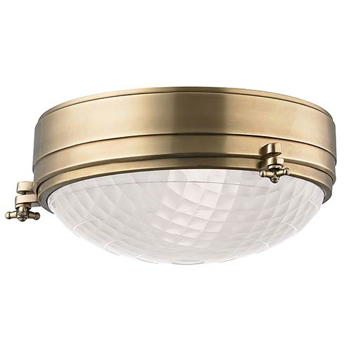 Belmont Aged Brass Two-Light 13-Inch Wide Flush Mount with Frosted Glass