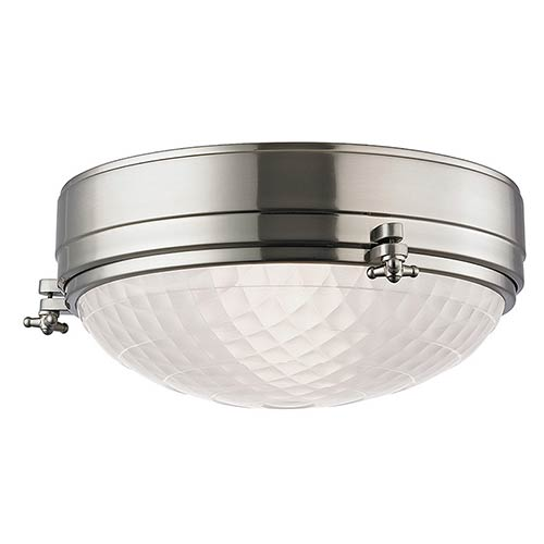 Hudson Valley Belmont Satin Nickel Two-Light 13-Inch Wide Flush Mount with Frosted Glass