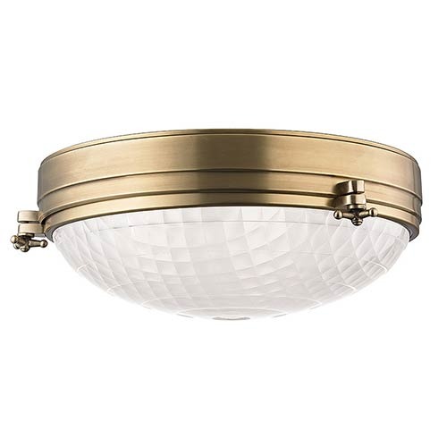 Hudson Valley Belmont Aged Brass Three-Light Flush Mount with Frosted Glass
