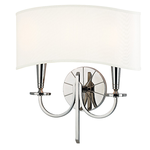 Hudson Valley Mason Polished Nickel Two-Light Wall Sconce with White Shade