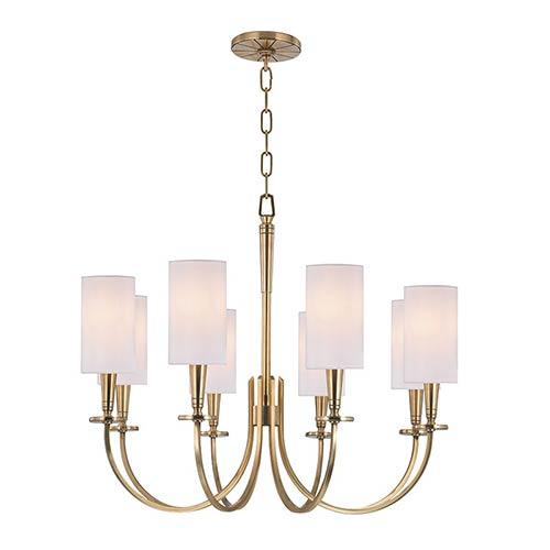 Mason Aged Brass Eight-Light Chandelier with White Shade
