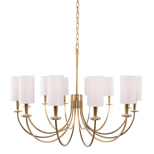 Hudson Valley Mason Aged Brass 12-Light Chandelier with White Shade