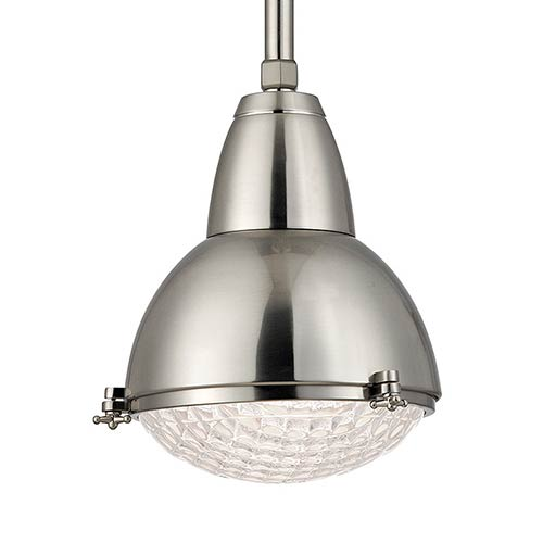 Hudson Valley Belmont Satin Nickel One-Light 17-Inch High Pendant with Clear Glass