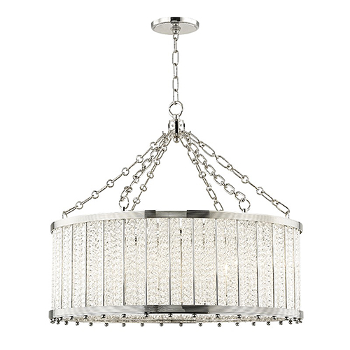 Hudson Valley Shelby Polished Nickel 8-Light 28-Inch Pendant