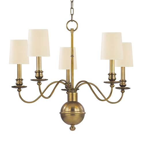 Hudson Valley Cohasset Aged Brass Five-Light Chandelier with Cream Shade