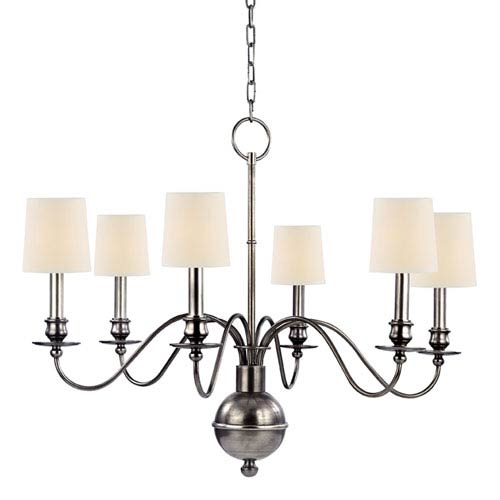 Cohasset Aged Silver Six-Light Chandelier with Cream Eco Paper