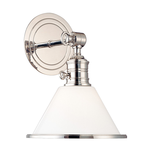 Garden City Polished Nickel One-Light Wall Sconce with Glass Shade
