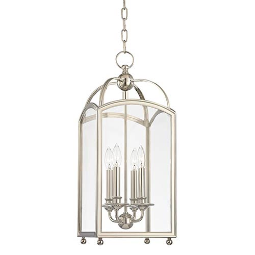 Millbrook Polished Nickel 25-Inch Four-Light Pendant with Clear Glass