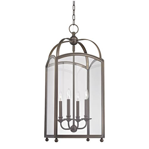 Millbrook Distressed Bronze Four-Light Pendant with Clear Glass