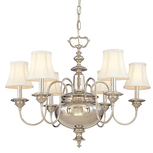 Yorktown Polished Nickel Six-Light Chandelier