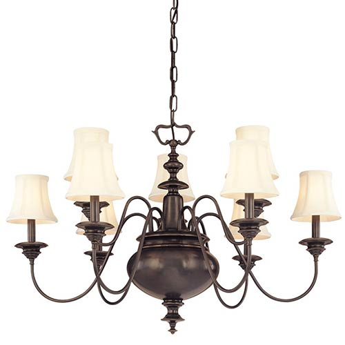 Hudson Valley Yorktown Old Bronze Nine-Light Chandelier