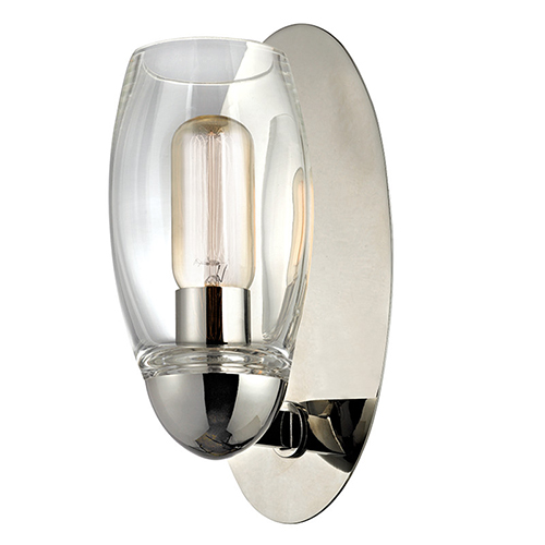 Hudson Valley Pamelia Polished Nickel One-Light Wall Sconce with Clear Glass