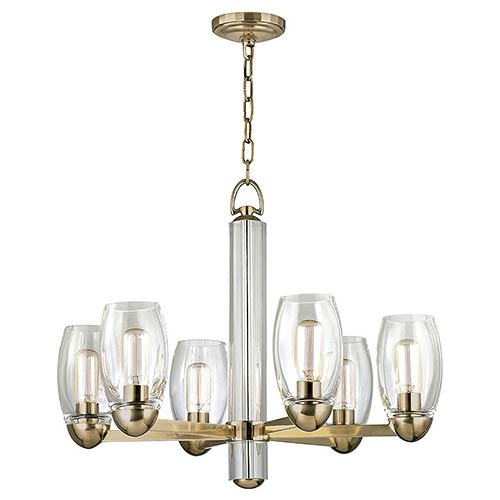 Hudson Valley Pamelia Aged Brass Six-Light Chandelier with Clear Glass