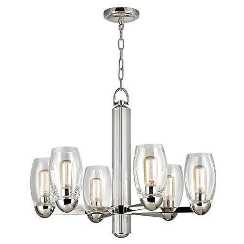 Hudson Valley Pamelia Polished Nickel Six-Light Chandelier with Clear Glass