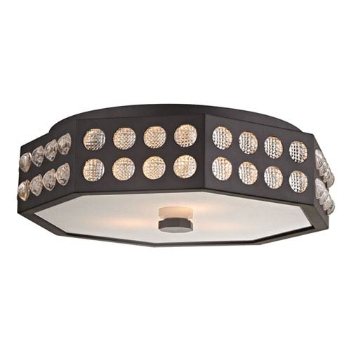 Hansen Old Bronze Three-Light Semi-Flush