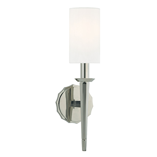 Hudson Valley Tioga Polished Nickel One-Light Wall Sconce with White Shade