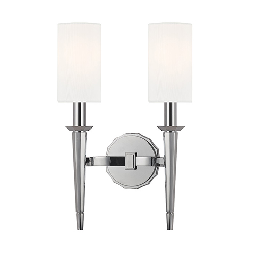 Hudson Valley Tioga Polished Chrome Two-Light Wall Sconce with White Shade