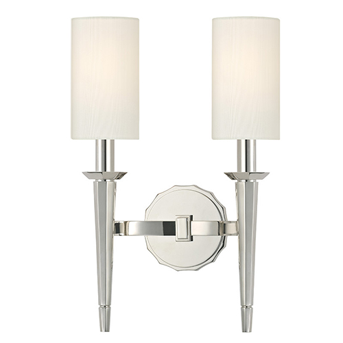Hudson Valley Tioga Polished Nickel Two-Light Wall Sconce with White Shade
