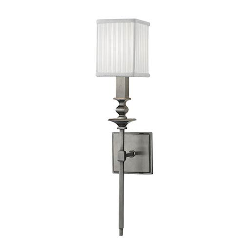 Towson Historic Nickel One-Light Wall Sconce with White Silk Shade