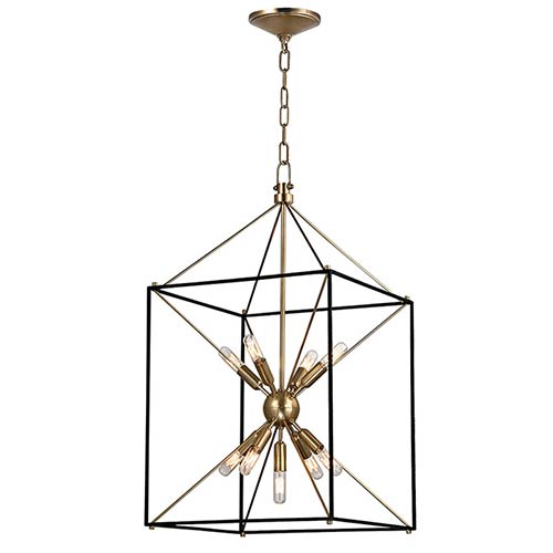 Glendale Aged Brass Nine-Light 16-Inch Wide Pendant with Black Iron