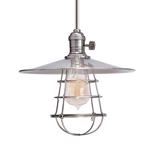 Heirloom Polished Nickel One-Light Mini Pendant with Flat Shade and Wire Guard-Short