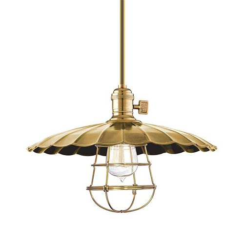 Hudson Valley Heirloom Aged Brass One-Light Large Pendant-Scalloped Shade and Wire Guard-Short