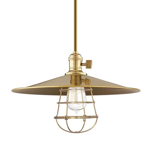 Hudson Valley Heirloom Aged Brass One-Light Medium Pendant-Flat Shade and Wire Guard-Short