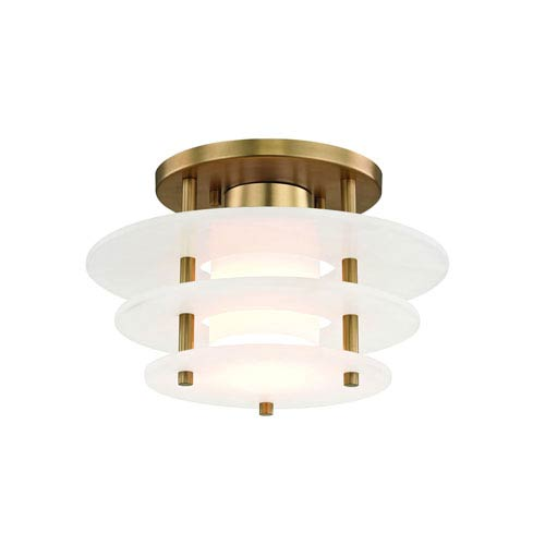 Gatsby Aged Brass 12-Inch LED Semi Flush Mount