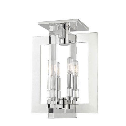 Wellington Polished Nickel Four-Light Flushmount