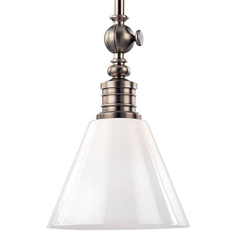 Hudson Valley Darien Historic Nickel One-Light Pendant with Opal Glossy Glass
