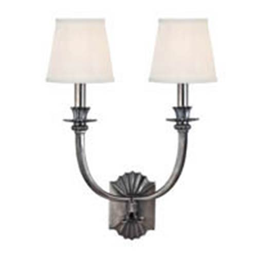 Hudson Valley Alden Historic Nickel Two-Light Wall Sconce with White Pleated Shade