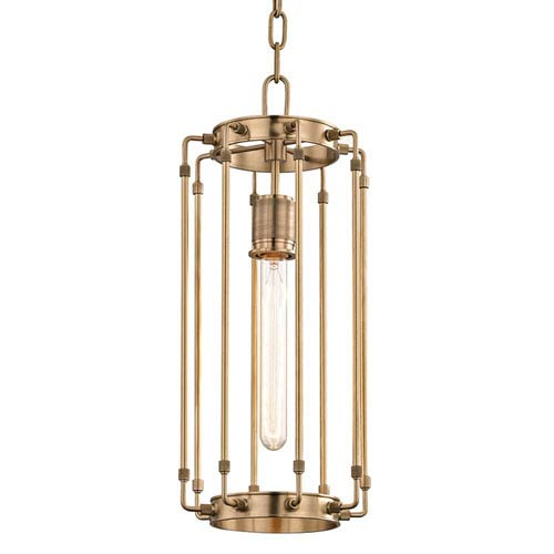 Hyde Park Aged Brass 8-Inch One-Light Mini Pendant