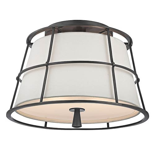 Hudson Valley Savona Old Bronze Two-Light Semi Flush with Linen Shade