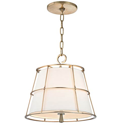 Savona Aged Brass Two-Light Pendant with Linen Shade