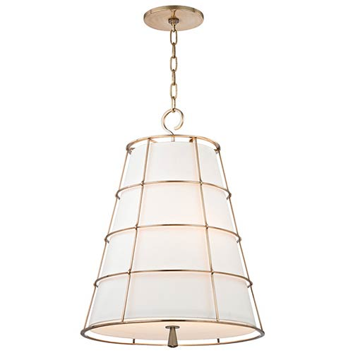 Hudson Valley Savona Aged Brass Three-Light 20-Inch Wide Pendant with Linen Shade