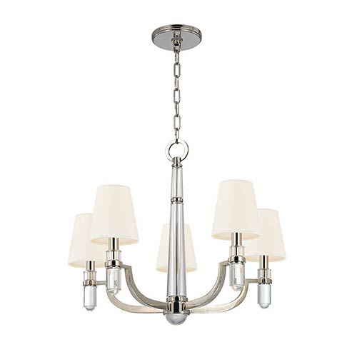 Hudson Valley Dayton Polished Nickel Five-Light Chandelier with White Shade