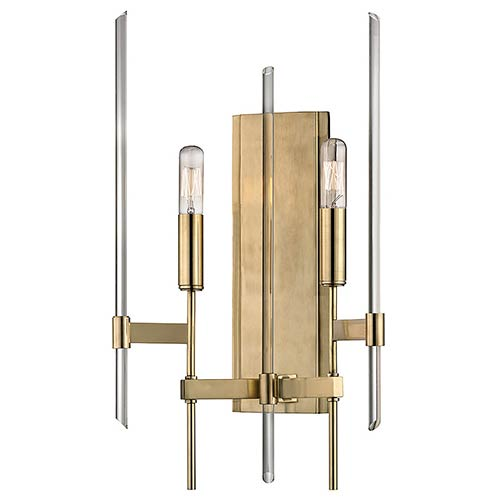 Hudson Valley Bari Aged Brass Two-Light Wall Sconce with Clear Glass