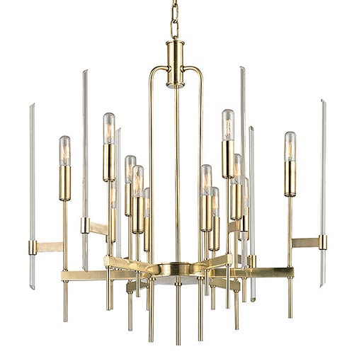 Hudson Valley Bari Aged Brass 12-Light Chandelier with Clear Glass