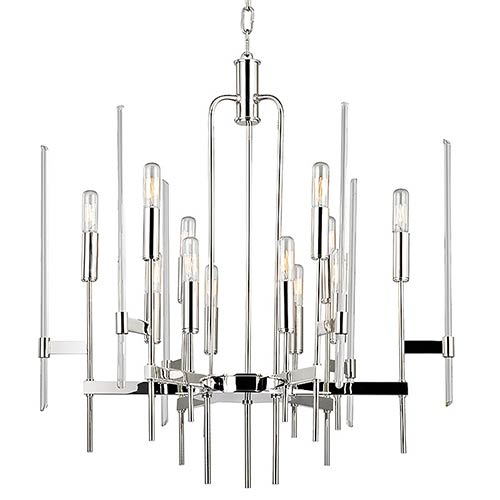 Hudson Valley Bari Polished Nickel 12-Light Chandelier with Clear Glass
