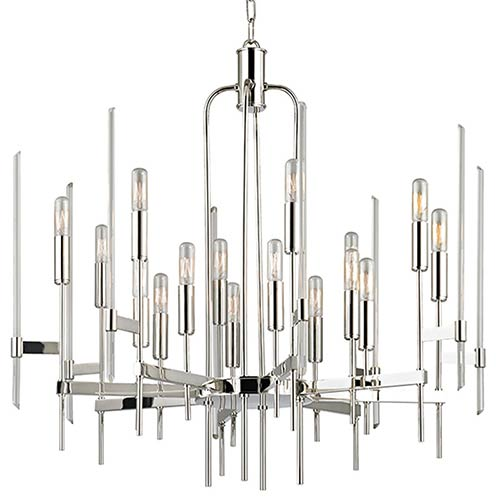 Bari Polished Nickel 16-Light Chandelier with Clear Glass