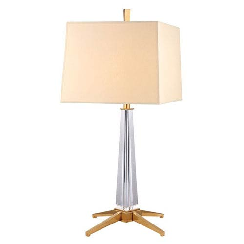 Hudson Valley Hindeman Aged Brass One-Light Table Lamp with Cream Shade