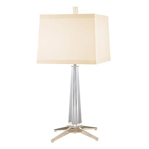 Hudson Valley Hindeman Polished Nickel One-Light Table Lamp with Cream Shade