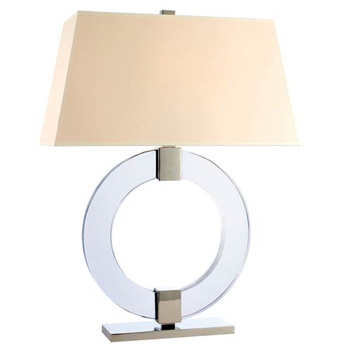 Ames Polished Nickel One-Light 29 Inch Table Lamp with Cream Shade