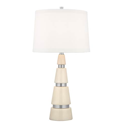 Modena Polished Nickel One-Light 25 Inch Marble Table Lamp with White Shade