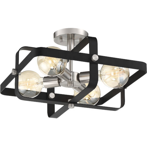 Prana Black Four-Light Semi Flush Mount