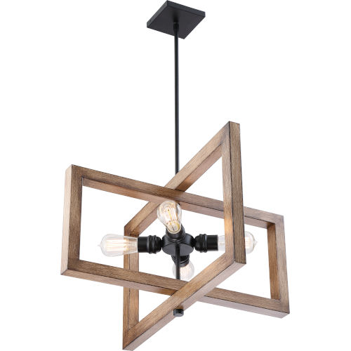 Beacon Wood Four-Light LED Pendant