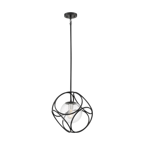 Aurora Black and Polished Nickel One-Light Mini Pendant with Clear Seeded Glass