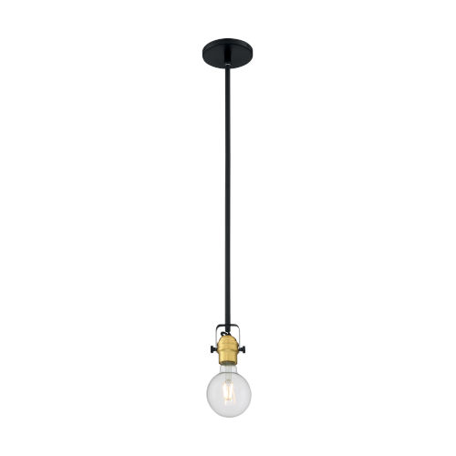 Mantra Black and Brushed Brass One-Light Mini Pendant