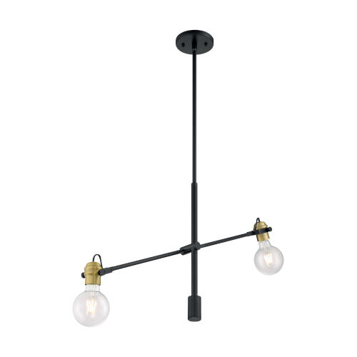 Mantra Black and Brass Two-Light Pendant